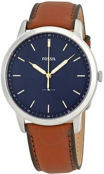 Fossil Minimalist Blue Dial Brown Leather Men's Watch