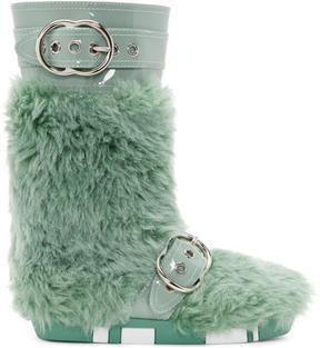 Miu Miu Green Eco Shearling Moon Boots