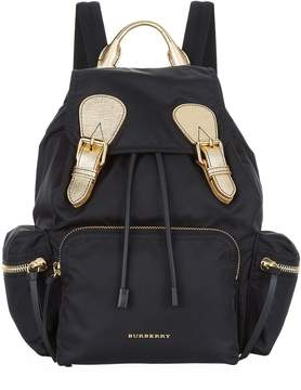 Burberry Two Tone Nylon And Leather Backpack - BLACK - STYLE