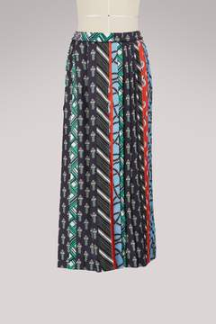 Carven Silk pleated skirt