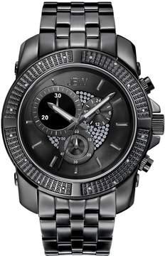 JBW Warren Black IP Case Black Crystal Pave Chronograph Dial Diamond Bezel Men's Watch