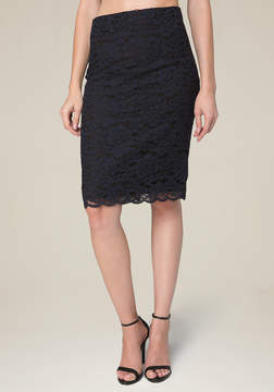 Bebe Floral Lace 2-Tone Skirt