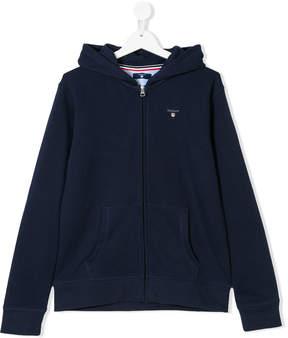 Gant Kids TEEN embroidered logo zipped hoodie