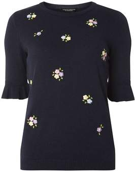 Dorothy Perkins Navy Knitted Embroidered T-Shirt