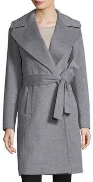 Fleurette Notched-Collar Wool Wrap Coat