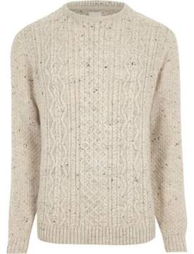River Island Mens Cream flecked cable knit sweater