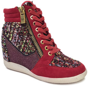 Bamboo Red Tweed Bethany Wedge Sneaker
