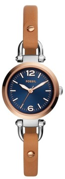 Fossil Women's Georgia Leather Strap Watch, 26Mm