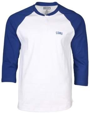 Converse Men's Cons Raglan Henley Shirt-White/Blue-Small