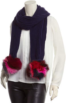 Jocelyn Navy Rib-Knit Scarf