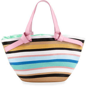 Emilio Pucci Striped Beach Tote Bag with Leather Straps