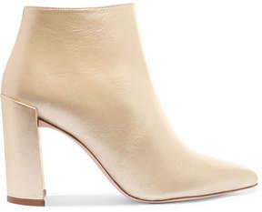 Stuart Weitzman Pure Metallic Leather Ankle Boots - Matte gold