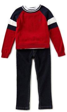Nautica Little Boys 4-7 Colorblock Sweater, Short-Sleeve Tee, & Jeans Set