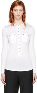 Balmain White Long Sleeve Pockets T-Shirt