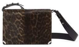 AllSaints Vincent Leopard Print Calf Hair Leather Shoulder Bag