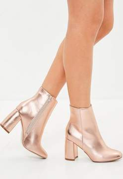 Missguided Rose Gold Block Heel Round Toe Ankle Boots