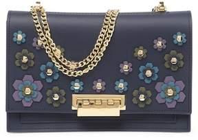 Zac Posen Earthette Floral Stud Large Chain Leather Shoulder Bag