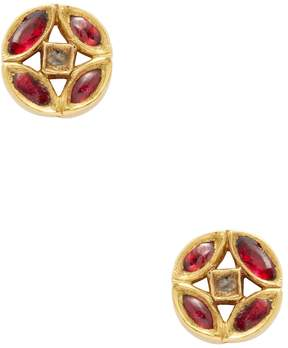 Amrapali Women's 18K Yellow Gold, Ruby & 0.10 Total Ct. Diamond Circle Stud Earrings