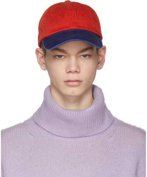Acne Studios Red and Blue Carli Face Cap