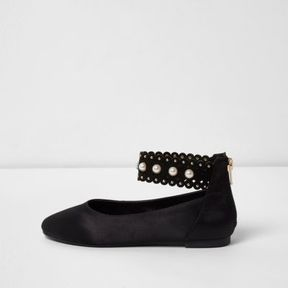 River Island Girls black satin faux pearl ballerina shoes