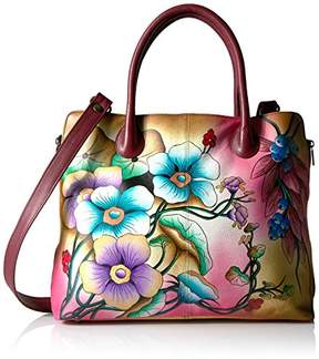 Anuschka Anna by Women's Genuine Leather Large Expandable Tote | Hand Painted Original Artwork | Floral Berries Wine