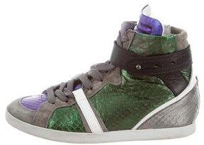 Barbara Bui Metallic Paneled Sneakers