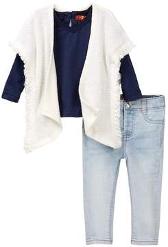 7 For All Mankind Poncho, Long Sleeve Tee, & Skinny Jean Set (Baby Girls)