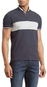 Kenneth Cole New York Reaction Kenneth Cole Pique Colorblocked Collarband Shirt - Men's