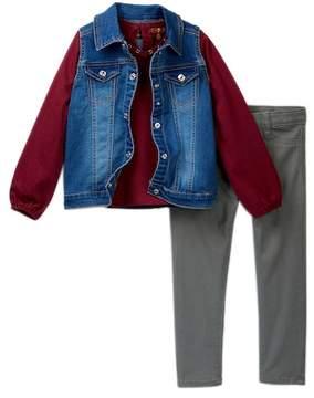7 For All Mankind Vest, Tee, & Skinny Jeans Set (Toddler Girls)