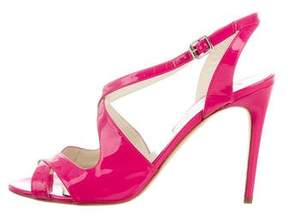 Rupert Sanderson Patent Leather Crossover Sandals