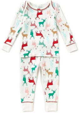 Starting Out Baby Girls 12-24 Months Christmas Reindeer-Print Top & Pants Pajama Set