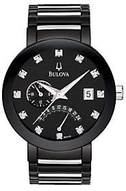 Bulova Men's Diamond-Accented Black Dial Bracelet Watch