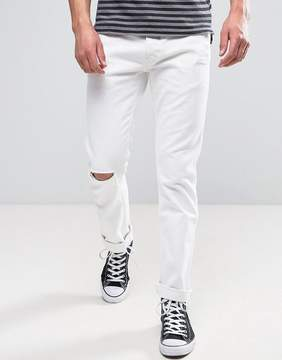 Wrangler Slim Fit Jeans in White Ripped