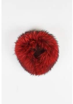 Versace Red & Black Murmansky Fur & Silk Collar.