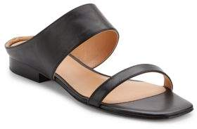Halston Leather Square Open-Toe Sandals