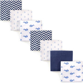 Hudson Baby Blue Whales Flannel Receiving Blanket Set