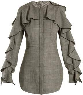Sara Battaglia Prince of Wales-checked wool-blend top