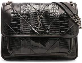 Saint Laurent Medium Leather & Snakeskin Patchwork Monogramme Niki Chain Bag