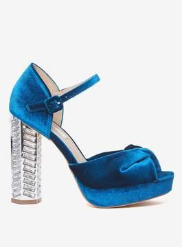Dorothy Perkins Teal Velvet 'Briony' Heeled Sandals