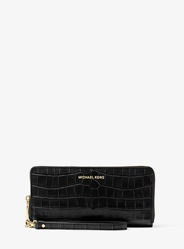 Michael Kors Jet Set Travel Embossed-Leather Continental Wristlet - BLACK - STYLE