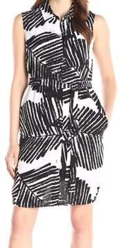Calvin Klein Women's Belted Palm-Print Buttoned Shirtdress (6, Black/White)