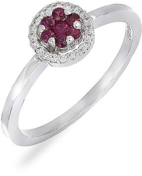 Bony Levy 18K White Gold Ruby & Diamond Flower Stackable Ring - 0.07 ctw