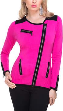 Belldini Fuchsia & Black Asymmetric Zip-Up Jacket - Women