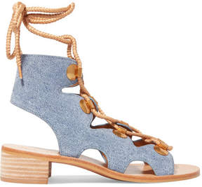 See by Chloe Edna Lace-up Denim Sandals - Mid denim