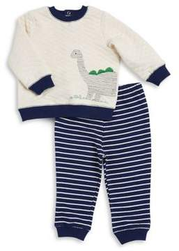 Little Me Baby Boy's Two-Piece Textured Sweater and Striped Pants Set