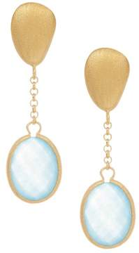 Rivka Friedman Cascading Single Caribbean Blue Quartzite Pebble Drop Earrings