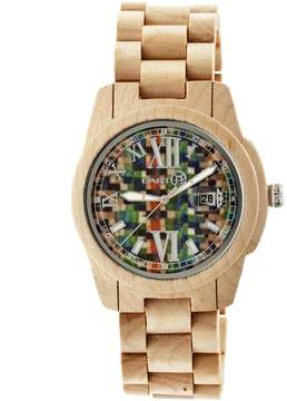 Earth Heartwood Multi-Colored Dial Tan Wood Unisex Watch