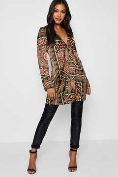 boohoo Scarf Print Tie Front Shirt