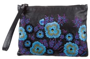 Christopher Kane Embroidered Leather Zip Pouch