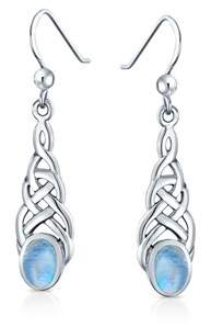 Celtic Bling Jewelry Moonstone Oval Knotwork Earrings 925 Silver.